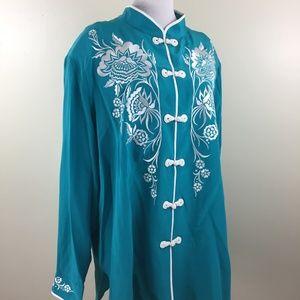 NWT BOB MACKIE QVC 100% Silk Oriental Button Shirt